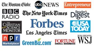 Some of the many media that have covered Shel Horowitz: Logos of NY Times, Wall Street Journal, Forbes, ABC News, etc.