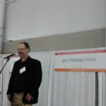 Shel Horowitz giving a Mainstage presentation at NYC Green Festival. Photo credit: D. Dina Friedman