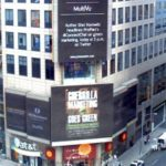 Shel Horowitz's 8th book, Guerrilla Marketing Goes Green, was featured on this news billboard in Times Square. Photo credit: PR Newswire.
